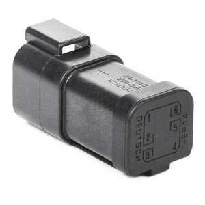 DT04-6P-EP14 - DT Series - 6 Pin Receptacle - Nickel Contacts, (2) 3 Pin Busses, Black