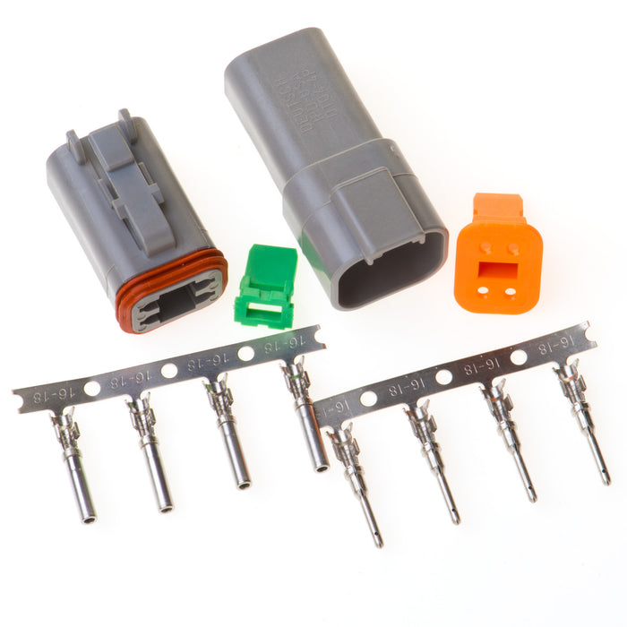 DT04GY - DT Series - 4 Pin Stamped and Formed Contact  Connector Kit