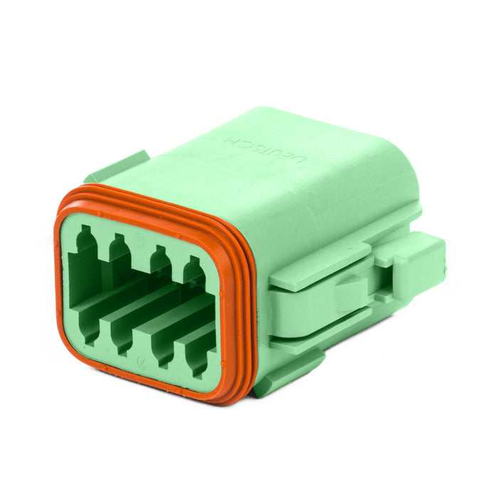 DT06-08SC-P012 - DT Series - 8 Socket Plug -  C Key, Enhanced Seal Retention, Green