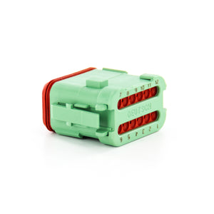 DT06-12SC-EP06 - DT Series - 12 Socket Plug - Enhanced Seal Retention, End Cap, Green