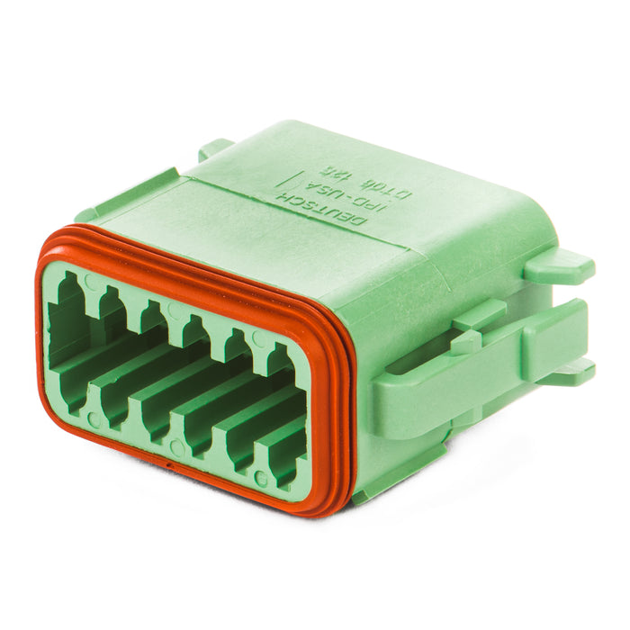 DT06-12SC-P012 - DT Series - 12 Socket Plug - C Key, Enhanced Seal Retention, Green