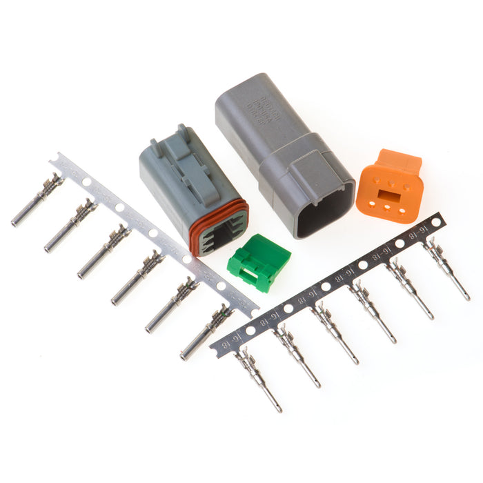 DT06GY - DT Series - 6 Pin Stamped and Formed Contact  Connector Kit