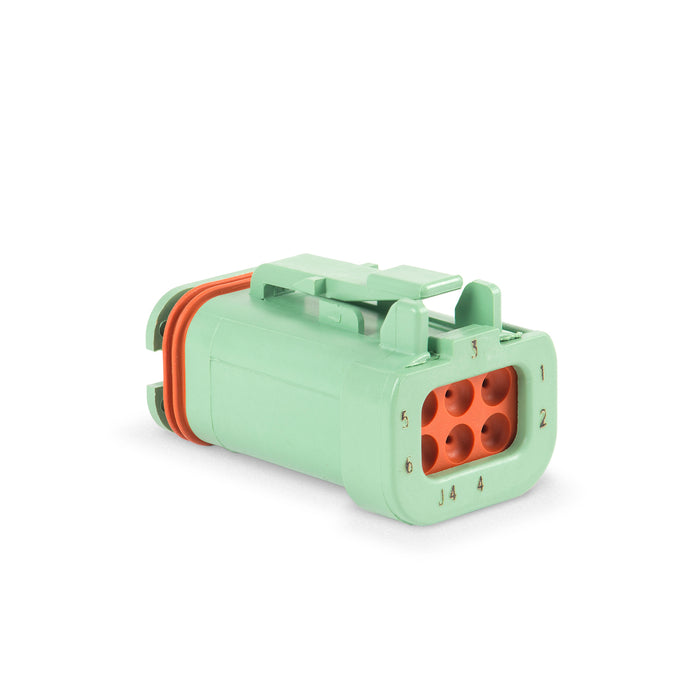 DT16-6S-KP01 - DT16 Series - Plug, 6 Cav, End Cap, Green