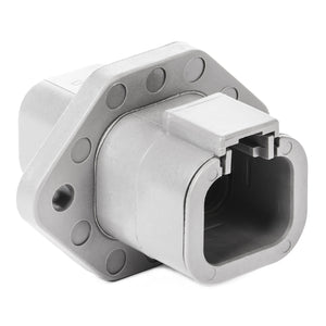 DTP04-4P-L012 - DTP Series - 4 Pin Receptacle - Welded Flange, Gray