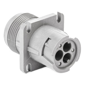 HD10-3-96P - HD10 Series - 3 Pin Receptacle - Threaded Rear, Flange, Gray