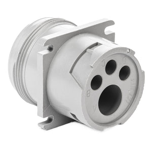 HD10-4-4P - HD10 Series - 4 Pin Receptacle - Threaded Rear, Flange, Gray