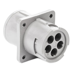 HD10-5-16P - HD10 Series - 5 Pin Receptacle - Non-Threaded Rear, Flange, Gray