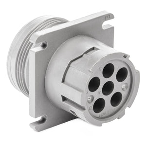 HD10-6-12P - HD10 Series - 6 Pin Receptacle - Threaded Rear, Flange, Gray
