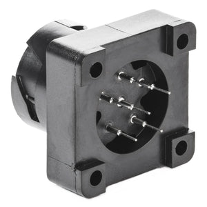 HD10-6-96P-N005 - HD10 Series - 6 Pin Receptacle - Molded-In Pins, PCB Mount, Black