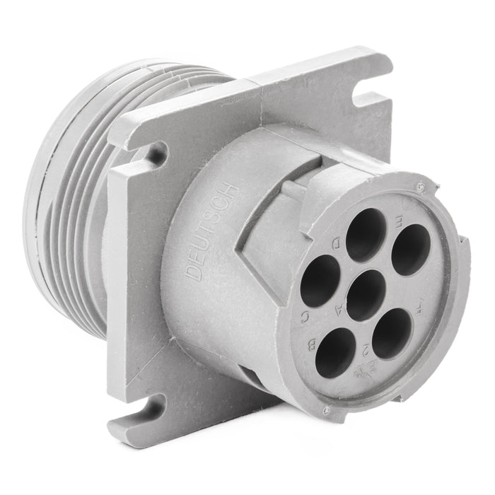 HD10-6-96P - HD10 Series  - 6 Pin Receptacle - Threaded Rear, Flange, Gray