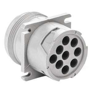 HD10-9-96P - HD10 Series - 9 Pin Receptacle - Threaded Rear, Flange, Gray