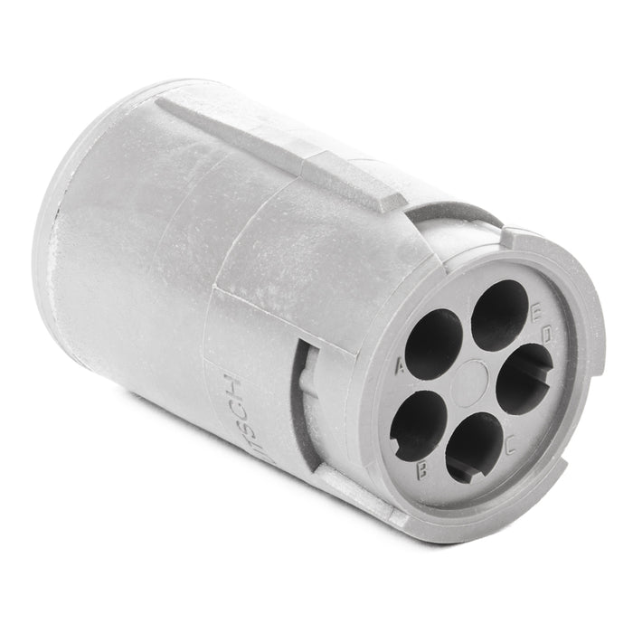 HD14-5-16P - HD10 Series - 5 Pin Receptacle - Non-Threaded Rear, Gray