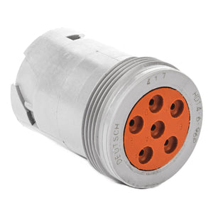 HD14-6-96P - HD10 Series - 6 Pin Receptacle - Threaded Rear, Gray