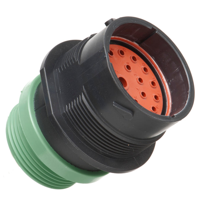 HDP24-24-18PN-L015 - HDP20 Series - 18 Pin Receptacle - 24 Shell, N Seal, Threaded Adapter, Flange