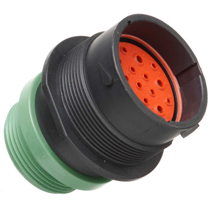 HDP24-24-19PN-L015 - HDP20 Series - 19 Pin Receptacle - 24 Shell, N Seal, Threaded Adapter, Flange