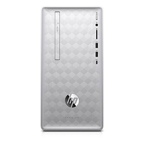 HP Pavilion 590 Desktop - 8th Gen Intel Core i7-8700 6-Core up to 4.60 GHz, 32GB DDR4 Memory, 1TB SATA Hard Drive, 2GB AMD Radeon RX 550 Graphics, DVD Writer, Windows 10 Pro, Silver