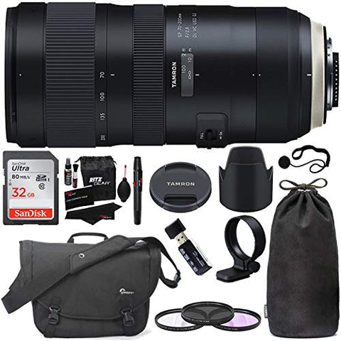 Tamron SP 70-200mm F/2.8 Di VC G2 for Canon EF Digital SLR Camera (6 Year Tamron Limited Warranty), Sandisk 32GB Memory Card, Lowepro Passport Messenger Bag, Filters, Cleaning Kit and Accessory Bundle