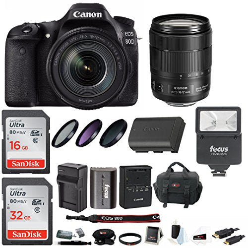 Canon EOS 80D Digital Camera: 24 Megapixel 1080p HD Video DSLR Bundle with  18-135mm USM Lens 48GB Flash Filters Travel Charger and More - Professional