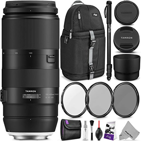 Tamron 100-400mm f/4.5-6.3 Di VC USD Lens for Canon EF w/Advanced Photo and Travel Bundle