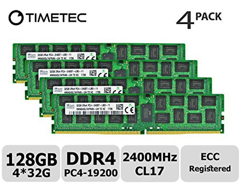 Timetec Hynix 128GB Kit (4x32GB) DDR4 2400MHz PC4-19200 Registered ECC 1.2V CL17 2Rx4 Dual Rank 288 Pin RDIMM Server Memory RAM Module Upgrade (128GB Kit (4x32GB))
