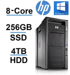 8 CORE COMPUTER with 16 Hyperthreads -HP Z800 Workstation - 2 X Intel QUAD CORE Xeon up to 3.33GHz - New 256GB SSD + 4TB HDD - 24GB DDR3 - 4 Monitor Capable - USB 3.0 (Certified Refurbished)