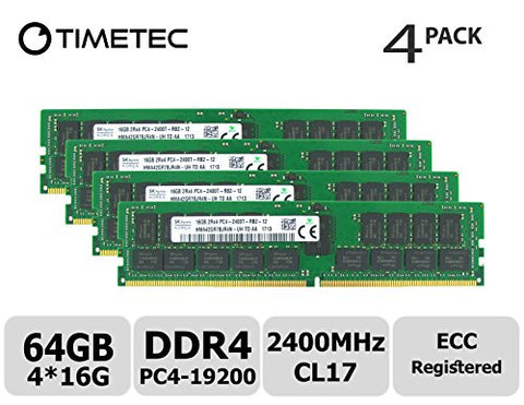 Timetec Hynix 64GB Kit (4x16GB) DDR4 2400MHz PC4-19200 Registered ECC 1.2V CL17 2Rx4 Dual Rank 288 Pin RDIMM Server Memory RAM Module Upgrade (64GB Kit (4x16GB))