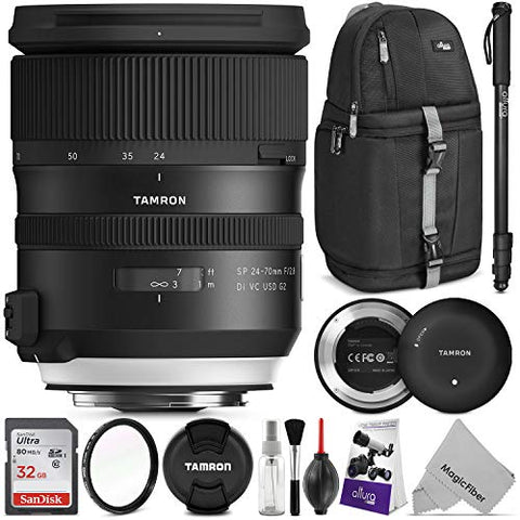Tamron SP 24-70mm f/2.8 Di VC USD G2 Lens for Nikon F w/Tamron Tap-in Console and Advanced Photo and Travel Bundle