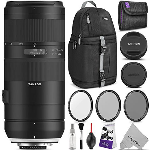 Tamron 70-210mm f/4 Di VC USD Lens for Nikon F w/Advanced Photo and Travel Bundle