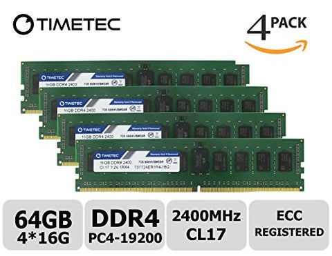 Timetec Samsung IC 64GB Kit (4x16G) DDR4 2400MHz PC4-19200 Registered ECC 1.2V CL17 1Rx4 Single Rank 288 Pin RDIMM Server Memory RAM Module Upgrade (64GB Kit (4x16G))