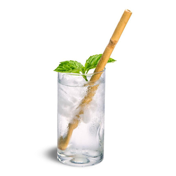 bamboo straw in a glass cup