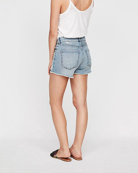 high waisted grommet distressed original denim shorts