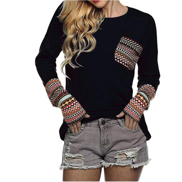 Patchwork Casual Loose Top