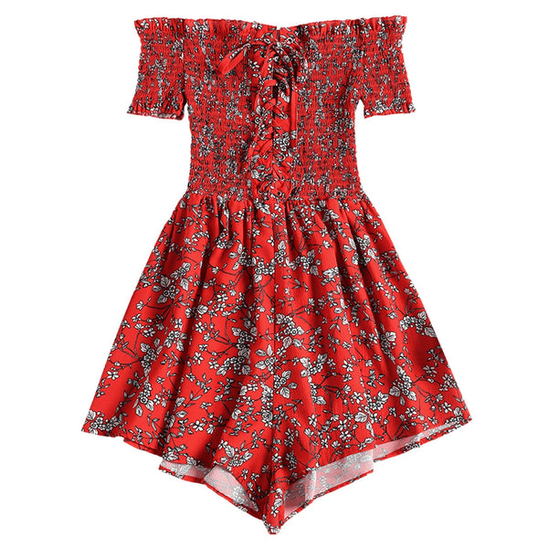 Shirred Floral Romper