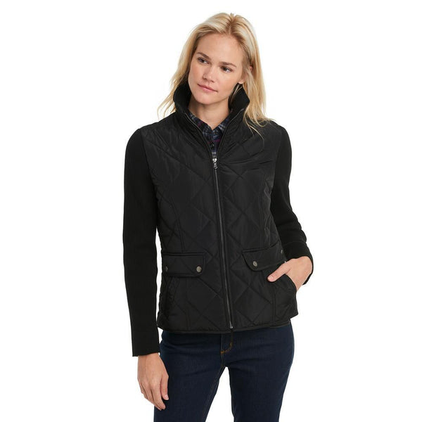 Quilted Jacket With Ribbed Sleeves