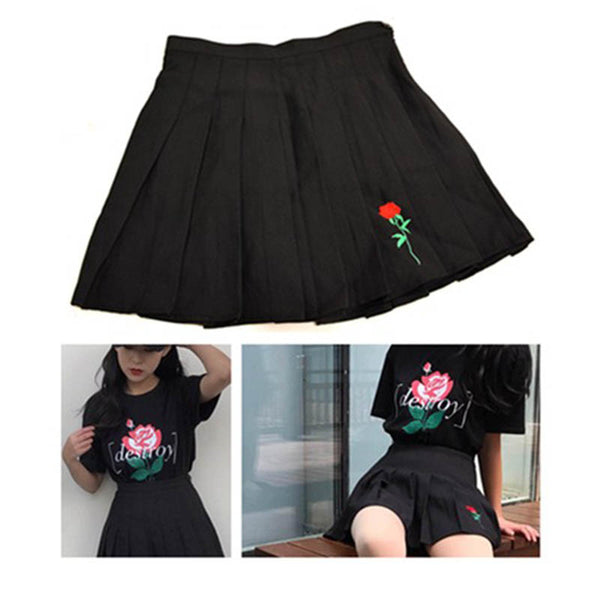 Embroidery Casual Ball Pleated Skirt