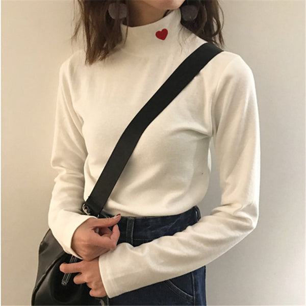 Sping Style Striped Turtleneck Casual Tee