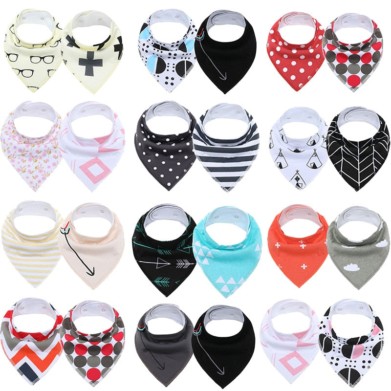 2Pcs Super Cute Extra Soft Natural Cotton Baby Bandana Drool Bib