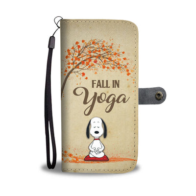 Dog Fall In Yoga Wallet Case