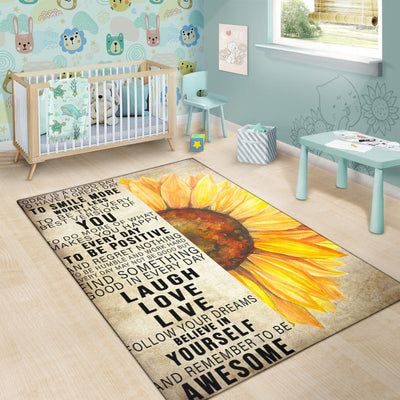 Laugh Love Live Sunflower Rug