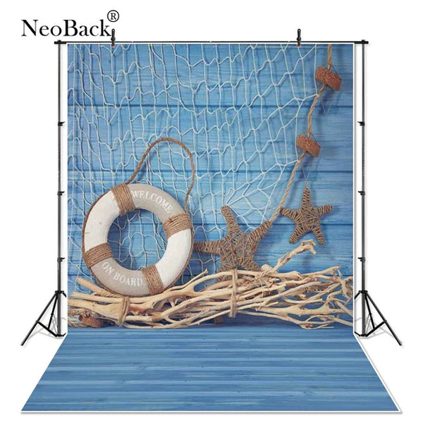NeoBack P0955 Vinyl Cloth Summer Blue Navy Studio Photo Backdrops