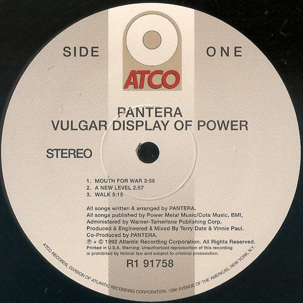Pantera ‎– Vulgar Display Of Power - ATCO Records ‎– R1 91758, Rhino Records (2) ‎– R1 91758 Format: 2 × Vinyl, LP, Album, Reissue - Flashlight Vinyl - Turntable Music