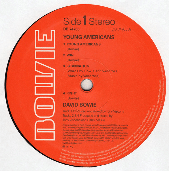 David Bowie ‎– Young Americans - Vinyl, LP, Album, Reissue, Remastered, 180g - Flashlight Vinyl - Turntable Music