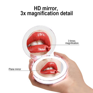 10 Lights LED Mini Makeup Mirror 1X 3X Magnify Fold Small Mirror Micro USB Connect Rechargeable