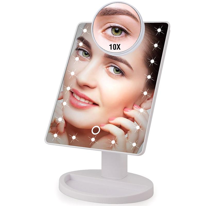 22 LED Light Touch Screen 1X 10X Magnifier Makeup Mirror Bright Adjustable USB Cable