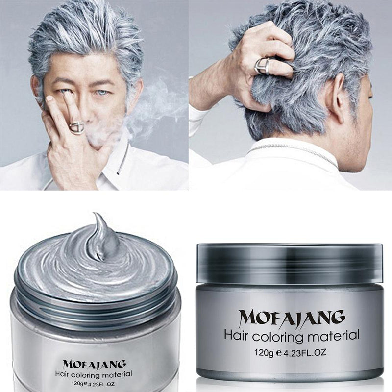 Colorful Hair Wax Styling Pomade Silver Grandma Grey Temporary Dye Disposable Hailicare
