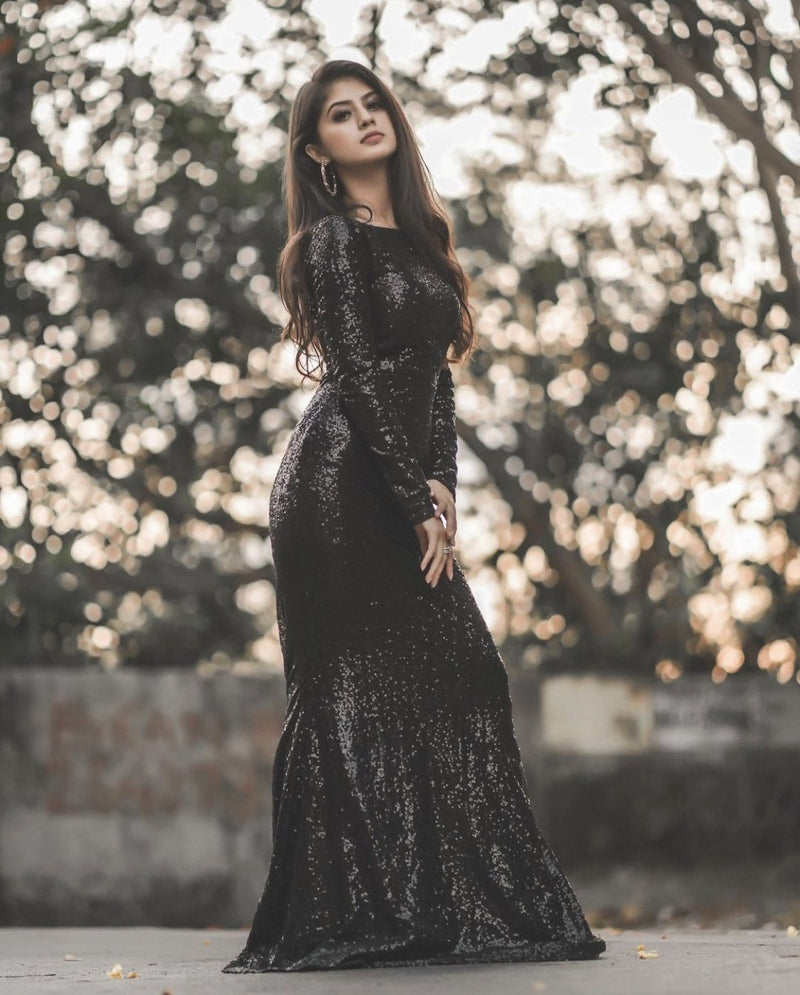 Classy black shine gown(30% SALE ENDS TODAY) - SEWBERY- PICK STITCH GET