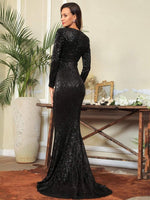 SHINE IT UP BLACK SEQUINS GOWN