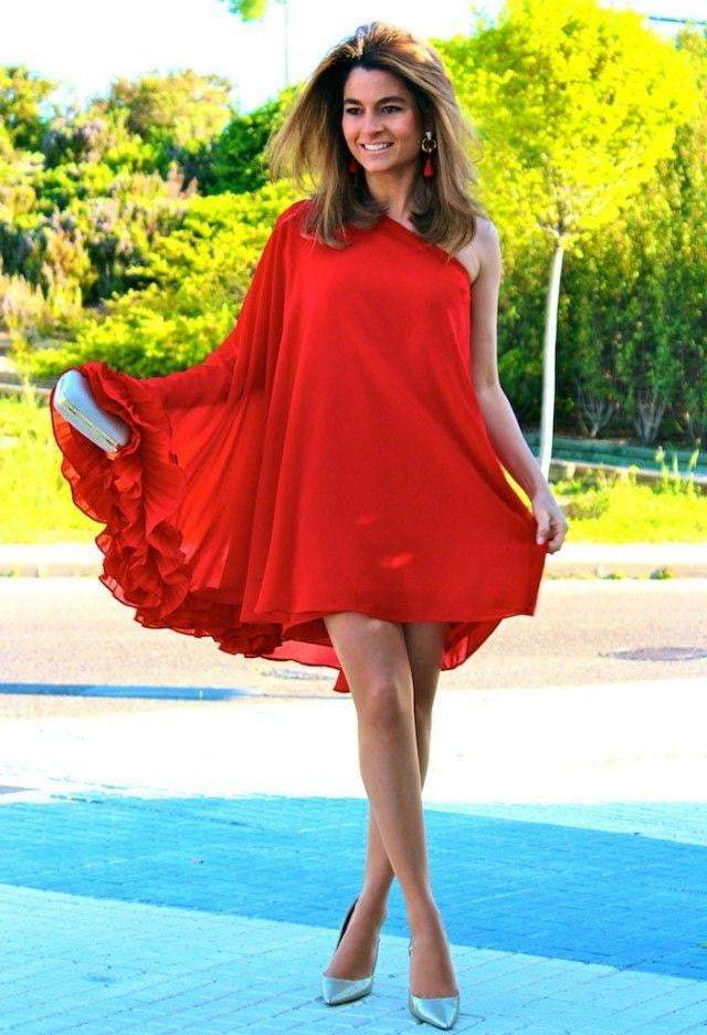 Red one shoulder frilly flared dress - SEWBERY- PICK STITCH GET