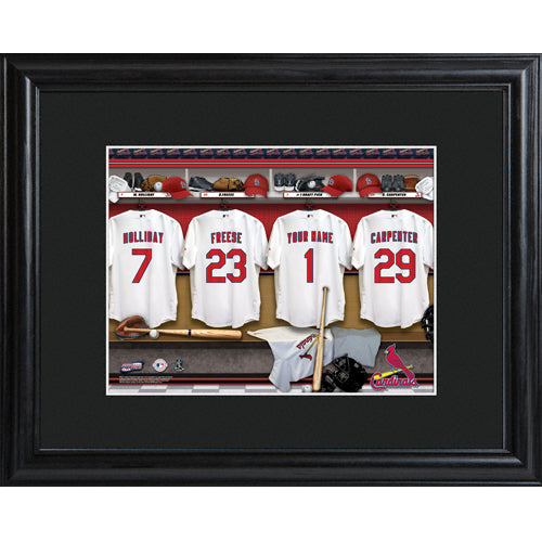 Personalized MLB Clubhouse Print w/Matted Frame - Cardinals