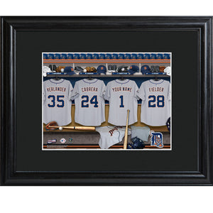 Personalized MLB Clubhouse Print w/Matted Frame - Tigers